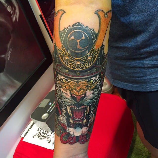 Samurai tiger tattoo by Elvin Yong #ElvinYong #asian #contemporary #newschool #samurai #tiger