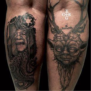 Creepy Star Wars tattoo by Ergo Nomik #ErgoNomik #blackwork #starwars #yoda