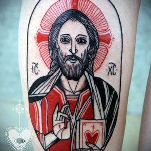 Jesus Christ tattoo by David Hale #DavidHale #medievalart #jesuschrist