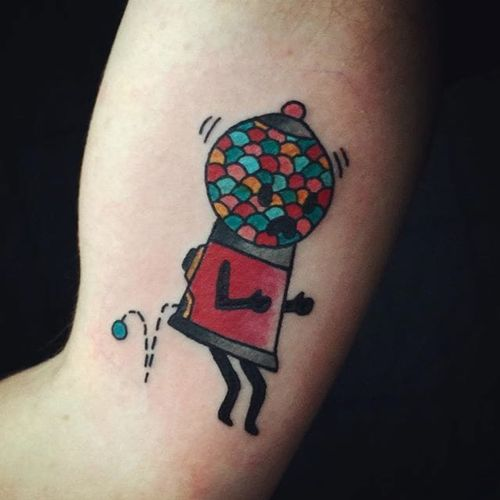Gumball machine gag tattoo. #Cooley #MattCooley #traditional #funny