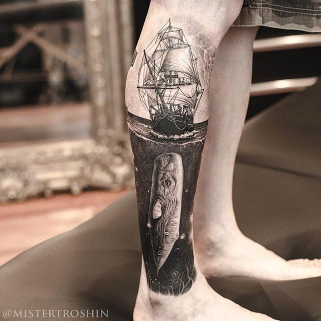 Moby-Dick coming for Ahab's ass in this epic black and grey leg sleeve by Dmitry Troshin. Via Instagram mistertroshin #blackandgrey #DmitryTroshin #ModyDick #realism #stippling