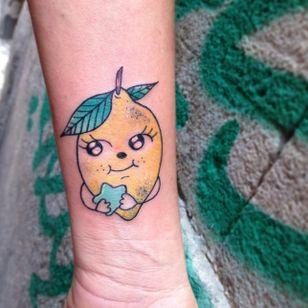 Kawaii lemon tattoo by Numi #Numi #lemon #fruit #kawaii