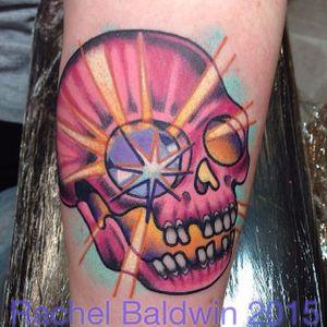 Skull tattoo by Rachel Baldwin. #Rachel Baldwin #girly #pastel #pink #skull