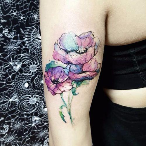 Flowery tattoo by Pablo Diaz Gordoa #PabloDiazGordoa #floral #contemporary #watercolor #flower