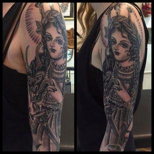 Stunning Half sleeve black Tattoo by Marie Sena #Mariesena #Electriceye #Dallas #Texas #Black #Traditional #Lady #Girl #blackwork #halfsleeve