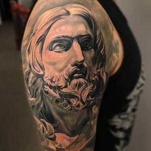 Tattoo by Jose Perez Jr #JosePerezJr #selftaughttattooartists #blackandgrey #portrait #Jesus #Christianity #religious #sculpture #JesusChrist #man #God