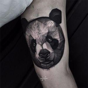 Panda by Łukasz Zglenicki #LukaszZglenicki #blackandgrey #linework #abstract #panda #animal #tattoooftheday