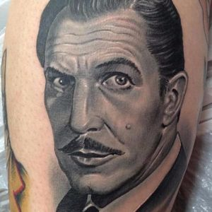 Vincent Price Tattoo by Nate Beavers #VincentPrice #VincentPriceTattoos #ActorTattoos #HollywoodTattoos #ClassicActor #NateBeavers #actorportrait #hollywood #portrait