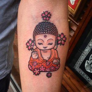 Buddha tattoo by Kim Ai #KimAi #kawaii #japaneseanimation #anime #chibi #newschool #cartoon #japaneseculture #japaneseart #buddha