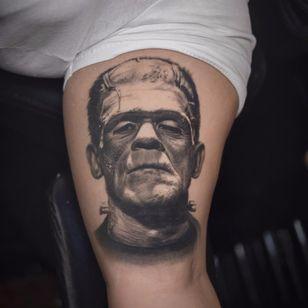 Frankenstein's Monster by Jose Contreras #josecontreras #realism #realistic #hyperrealism #portrait #Frankensteinsmonster #frankenstein #maryshelley #movietattoo #movie #literary #book #blackandgrey #tattoooftheday