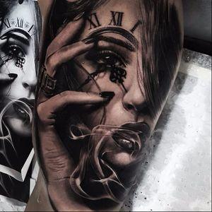 Portrait tattoo by Benji Roketlauncha #BenjiRoketlauncha #realistic #blackandgrey #portrait #photorealistic #smoke