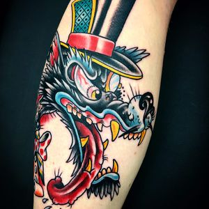 On the hunt for tail by Jordan C Moore #jordancmoore #color #newtraditional #traditional #wolf #tophat #gambler #bowtie #texavery #cartoon #monocle #tattoooftheday