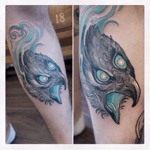 Mystic hawk tattoo by Gianpiero Cavaliere #GianpieroCavaliere #newschool #turquoise #hawk