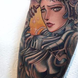 """""""Hey there Space Cowboy."""" Portrait by Miss Juliet #MissJuliet #color #newtraditional #lady #pinup #space #stars #lasergun #chrome #portrait #astronaut #robot #biomechanical #AI #tattoooftheday"""