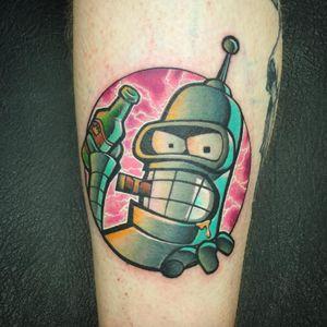 Kill all humans! Tattoo by Josh Peacock. (Via IG - joshpeacock_obe1) #JoshPeacock #watercolor #graffiti #illustrative #futurama #bender