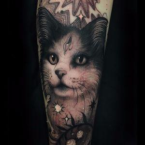 Magic Cat by Aimee Cornwell #AimeeCornwell #neotraditional #blackandgrey #thirdeye #cat #fur #kitty #petportrait #stars #flowers #nature #animal #realistic #tattoooftheday