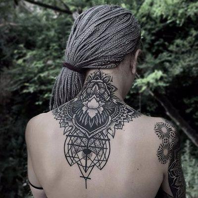Intricate lotus and sacred geometry by Otheser #Otheser #otheser_dsts #sacredgeometry #geometry #lotus #blackwork #blackandgrey #pattern #linework #dotwork #flower #tattoooftheday