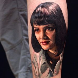 Color Realism Mia Wallace tattoo by Miguel Ameliach. #colorrealism #MiaWallace #femmefatale #classic #pulpfiction #cultfilm #film #movie #QuentinTarantino #moviecharacter #femmefatale #portrait