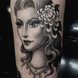 Ladyhead by Chris Garver #ChrisGarver #blackandgrey #traditional #lady #ladyhead #tattoooftheday