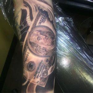 Hundred dollar bill y'all. By Pfolkes (via IG -- pstrokes_tattoos) #Pfolkes #money #moneytattoo