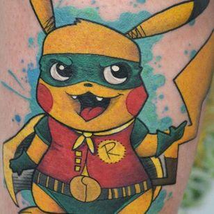 Pikachu Robin Tattoo by Joanie Dallaire #robin #pikachu #pokemon #pokemongo #pokemonart #popculture #JoanieDallaire