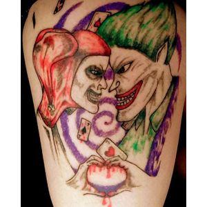 Failed Harley and Joker tattoo, via fucknobadtattoos on Tumblr. #wtf #tattoofail #fail #horrible #scratcher
