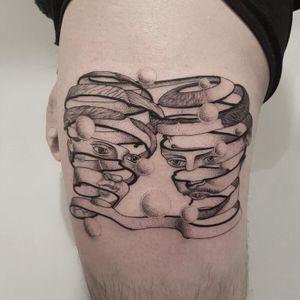 Escher tattoo by Jessica Aaron #JessicaAaron #fineline #blackandgrey #monochrome #finelineblackandgrey #escher