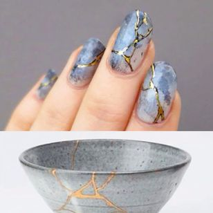 Japanese Kintsugi Inspired Nails by Lady Crappo (via IG-ladycrappo) #nailart #artist #art #kintsugi #bowl #broken #ladycrappo