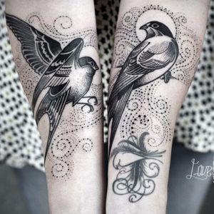 Bird tattoos by David Hale #DavidHale #birds #bird #dotwork #linework #blackwork