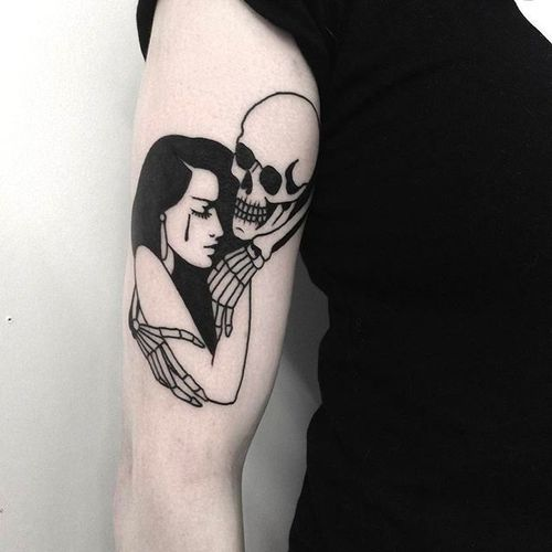 Pin-up and Skeleton Tattoo by Johnny Gloom @JohnnyGloom #JohnnyGloom #Black #Blackwork #BlackTattoo #Paris #Pinup #Girl #Skeleton #skull