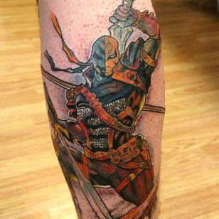 Deathstroke Tattoo by Stephanie Nuzzolilo #Deathstroke #DeathstrokeTattoos #DeathstrokeTattoo #DCComics #DCTattoos #ComicTattoos #DCTattoos #VillainTattoos #StephanieNuzzolio