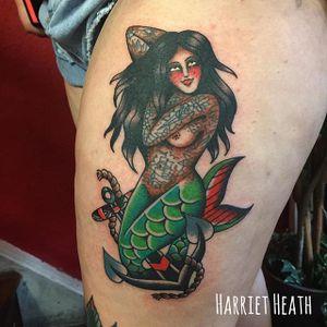 Mermaid Tattoo by Harriet Heath #mermaid #oldschool #traditional #HarrietHeath