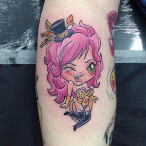 Cat lady chibi tattoo by Mark Ford. #newschool #chibi #MarkFord #catlady
