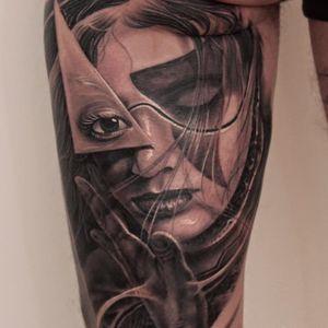 Black and grey portrait tattoo by Boris #Boris #realistic #blackandgrey #portrait #woman #geometric