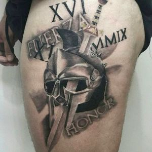 Spartan sword and helmet tattoo by Andrea Morales. #AndreaMorales #EduTattoo #Madrid #spartan #helmet #sword