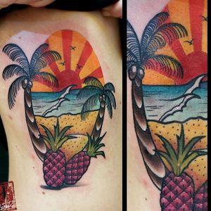 Beach tattoo by Kurios Eugenios. #KuriosEugenios #palmtree #beach #summer #paradise #ocean #vacation #getaway