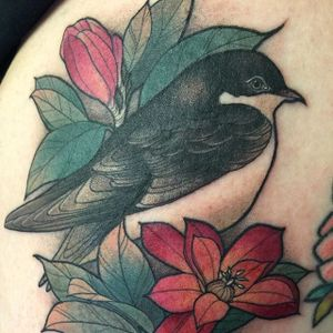 Lovely bird and flowers tattoo by Kaitlin Greenwood. #neotraditional #KaitlinGreenwood #bird #flower