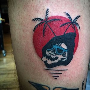 Death In Paradise Tattoo by Frankie Caraccioli #deathinparadise #deathinparadisetattoo #skulltattoo #skull #tropical #sun #suntattoo #FrankieCaraccioli