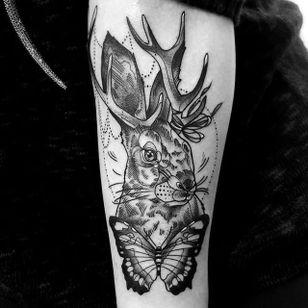 Jackalope tattoo by Katie Shocrylas. #KatieShocrylas #jackalope #fable #imaginary #animal #antler #rabbit #blackwork #butterfly