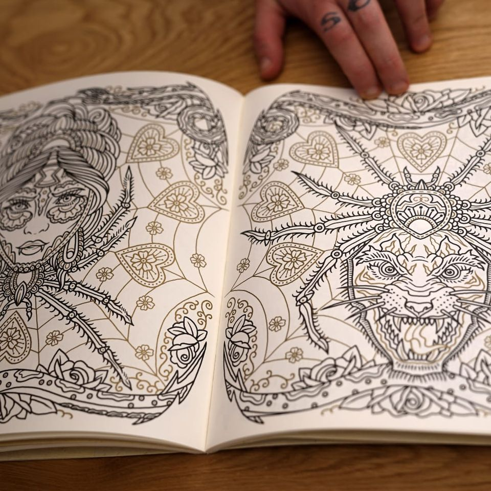Two of the awesome designs in The Tattoo Flash Coloring Book by Ollie Munden. #bookreview #coloringbook #flashdesign #MEGAMUNDEN #OllieMunden