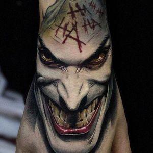The Joker via instagram secretflesh_tattoo #color #thejoker #batman #villain #realism #andreystepanov