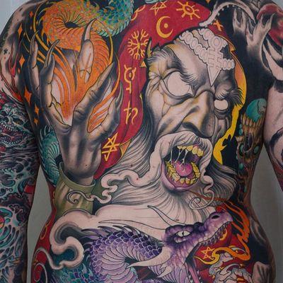Evil wizard WIP tattoo by Peter Lagergren #PeterLagergren #darkarttattoos #color #neotraditional #wizard #magic #symbols #dragon #fire #scales #skulls #death #evil #smoke #stars #waves #tattoooftheday