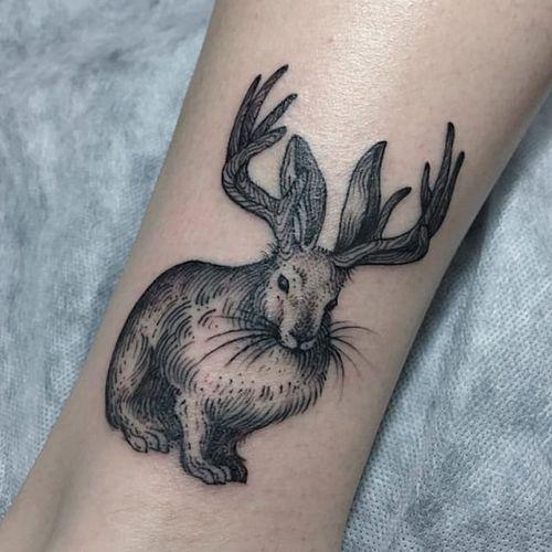 Jackalope tattoo by Sasha Matius. #jackalope #fable #imaginary #animal #antler #rabbit #blackandgrey #SashaMatius
