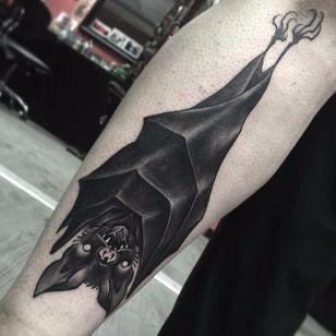 Blackwork bat tattoo by Joe Mumola. #bat #blackwork #horror #dark