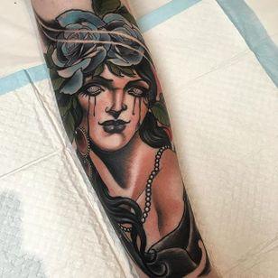 Woman Tattoo by Jake Danielson #neotraditional #neotraditionaltattoo #neotraditionaltattoos #neotraditionalartist #JakeDanielson