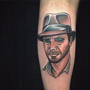 Indiana Jones Tattoo by Matt Cooley #traditional #traditionalportrait #MattCooley #IndianaJones