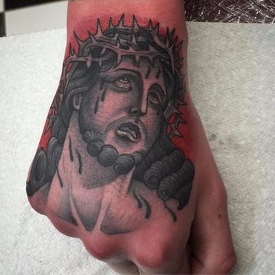 Sad Jesus by Ross Nagle #RossNagle #jesus #religious #thorns #tears #traditional #blackandgrey #tattoooftheday