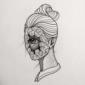 Eyeball by Daniel Teixeria (via IG-daniel_kickflip_tattooer) #surreal #dark #linework #flash #flashfriday #DanielTeixeira