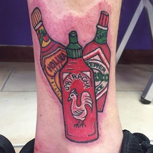 Hot sauce threesome: when one hot sauce is not enough. Tattoo by Lauren Caldwell. #sriracha #cholula #tobasco #hotsauce #LaurenCaldwell