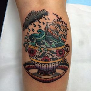 Storm in a teacup tattoo by Carlin Dacheff. #storminateacup #cloud #storm #teacup #tea #cup #wave #traditional #ship